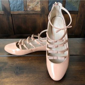 Topshop Blush Pink Patent Leather Ballet Flats